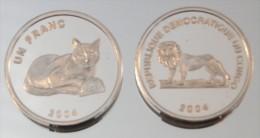 Congo RDC 1 Franc 2004 Golden Cat Argent Pur .999 Animal - Congo (République Démocratique 1998)