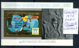 Soccer WC 1978 Comoro  Black Over.perf SS Gold MNH***XVF Football  Map Comores Komoren Dentele Space - Celebrations