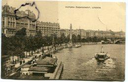 - LONDON - VICTORIA EMBANKMENT, - Boats, écrite En 1912, épaisse, écrite, BE, Scans. - River Thames