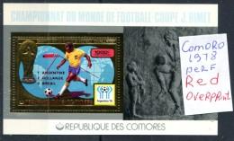 Soccer WC 1978 Comoro  Red Over.perf SS Gold MNH***XVF Football  Map Comores Komoren Dentele Space - Celebrations