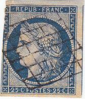 France: Timbre Cérés 25c Bleu N°4 - Cote 60 €- Recto/verso - - 1849-1850 Cérès