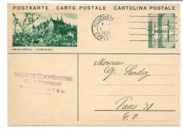 Suisse, Entier Postal Oblitéré Neuchâtel 1932 Avec Illustration Concordante Neuchâtel Château - Stamped Stationery
