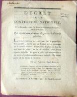 REVOLUTION FRANCAISE COCARDE TRICOLORE  DECRET QUI ENJOINT LES FEMMES DE PORTER LA COCARDE SOUS PEINE DE PRISON - Documents Historiques
