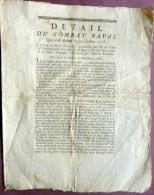MARINE DE GUERRE BRETAGNE DETAIL DU COMBAT NAVAL EN 1778 ENTRE LA FLOTTE FRANCAISE ET LA FLOTTE ANGLAISE - Documents Historiques