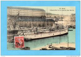 MARCOPHILIE- Carte Postale *BREST Avant Port-cad -brest-1909  Sur Timbre  Semeuse FM N°5 - Marcophilie (Lettres)