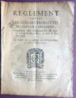 LANGUEDOC MONTPELLIER TOULOUSE REGLEMENT DE LA FERME DROITS SUR LES VIANDES POISSONS ETC..1754 - Documents Historiques
