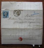 1860 Lettre De Beauvais Pour Saint Nicolas De La Grave, Famille Surrel De Montchamp - Marcophilie (Lettres)