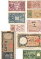 Lotticino Di 9 Biglietti Regno Repubblica Da 1 A 1000 Lire ( Rif. Lotto.1086 ) - [ 1] …-1946 : Kingdom