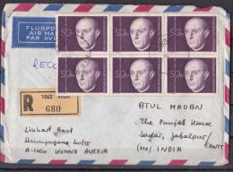 AUSTRIA, OSTERREICH, AUTRICHE, Registered Airmail Cover From Austria To India, Arnold Schonberg, Compos - 1945-.... 2. Republik