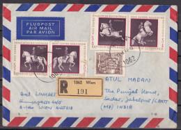 AUSTRIA, OSTERREICH, AUTRICHE, 1973,  Registered Airmail Cover From Austria To India, Multiple Stamps, Horses Etc. - 1945-.... 2. Republik