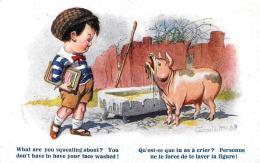 [DC2957] CPA - HUMOR - BAMBINO CON MAIALE - FIRMATA - COMIQUE SERIES N° 2145 - Non Viaggiata - Old Postcard - Humor