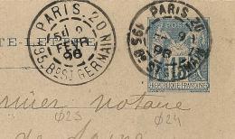 RARE En 1896, DAGUIN PARIS 20,  Cachets Diamètres Différents 25 Et 24 Mm + GRANDES Et PETITES LETTRES Sur ENTIER SAGE. - 1877-1920: Semi Modern Period
