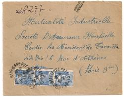 RECOMMANDE DE FORTUNE ST ETIENNE PREFECTURE Loire, BANDE 3 GANDON 4F50. - Postmark Collection (Covers)