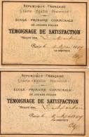 VP4888 - PARIS - Ecole . Primaire . Communale De Jeunes Filles - Témoignage De Satisfaction X 2 - Diplômes & Bulletins Scolaires