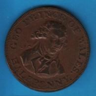 MIDDLESEX National Series,  GEO PRINCE OF WALES 1/2 HALF PENNY 1789   D&H 953a  TOKEN - Professionnels/De Société