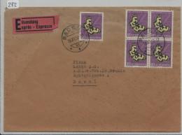 1952 Eilsendung Expres Von Baden Nach Basel PJ 145 Im Viererblock - Telegraph Basel 2 - Briefe U. Dokumente