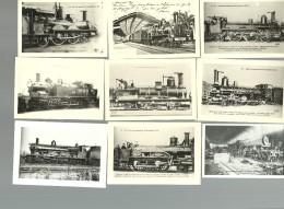 LOT DE 9 PHOTOS  TRAIN MACHINE A VAPEUR LOCOMOTIVE PHOTOGRAPHIE REPRODUITE EN +- 1950 D UNE COLLECTION PRIVEE - Reproductions