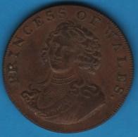 MIDDLESEX Princess Of Wales 1/2 HALF PENNY 1795  TOKEN Portcullis And Chains - Professionnels/De Société