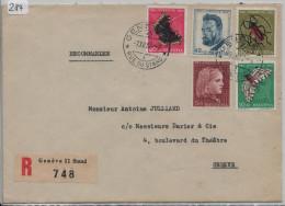 1953 Recommandée R-Brief Geneve Rue Du Stand Mit PJ Satz - Pro Juventute