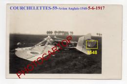 COURCHELETTES-AVION Anglais 1548-5-6-17-Aviation-Fliegerei-Carte Photo Allemande-GUERRE 14-18-1 WK-Militaria-France-59- - Douai