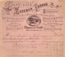 NIEVRE - NEVERS - PAPETERIE , LIBRAIRIE , IMPRESSION LITHOGRAPHIQUE - MAZERON FRERES - 1894 - Imprimerie & Papeterie