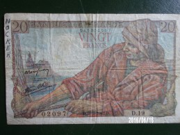 Pêcheur 20 Francs - 1942 - 1871-1952 Anciens Francs Circulés Au XXème