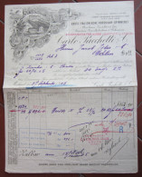 FATTURA PACCHETTI FABBRICA FILATURA CRINE BURSTEN PINSELFABRIKEN WEBEREIEN WOHLEN MILANO ANNO 1905 - Austria