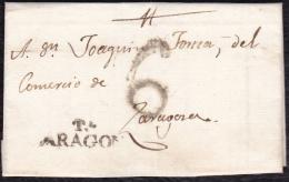 1818 ARAGON. RUBIELOS DE MORA A ZARAGOZA. ESPAÑA/SPAIN. - ...-1850 Prephilately