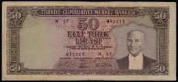 Turkey 50 Lira 1964 F- - Turkey