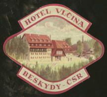 Etiquette Valise Hotel Vlcina Beskydy Tchécoslovaquie Tchéquie Luggage Label Czechoslovakia Czech Rep. - Hotel Labels
