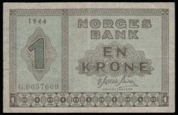 Norway 1 Krona 1944 VF- - Norvège