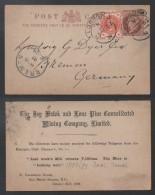 MINE D'ARGENT  - MINERAI - MINING / 1892 GB ENTIER POSTAL REPIQUE POUR L ALLEMAGNE  (ref LE246) - Minerals