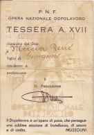 P.N.F. OPERA NAZINALE DOPOLAVORO _ TESSERA A. XVII _ Genova Nervi _ Con Fotografia _ MARCHE DA BOLLO SABATO TEATRALE - Organizzazioni