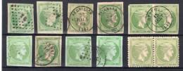 GRECE : TETE DE MERCURE . * ET OBL . 5 L . 10 EX . B A TB . 1861/82 . - Oblitérés