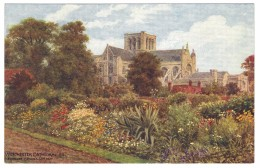 Winchester Cathedral SE From Canon's Garden By A R Quinton - Salmon No 1536 - Unused - Quinton, AR