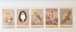 NORFOLK ISLANDS 1984 BOOBOOK OWL STRIP SET MNH - Owls