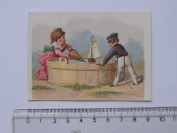 CHROMO: Jeu D´enfant Avec Bateau - Verso Calendrier 1er Semestre 1876 - Magasin Ville De TOURNON - TESTU & MASSIN) - Trade Cards