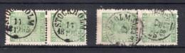 SUEDE : N° 6 . OBL  . 2 PAIRE . B . 1858/70 . - Suède