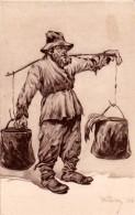 "JUDAÏCA : BORYSLAWIA / MALOPOLSKA - UKRAINE : ""LEBAK""  / JEWISH WORKER COLLECTING OIL - YEAR 1922 - RARE !!! (u-395) - Judaisme"