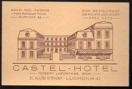 Carte Commerciale CASTEL HOTEL Luchon (haute Garonne) (PPP3302) - Sports & Tourisme