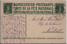 1914 Bundesfeier-Karte Pestalozzi In Stans 8 ENT Schnapszahl 22.Febr. 1922 22Uhr - Entiers Postaux