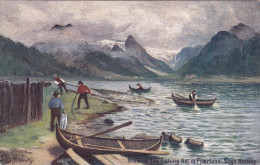 TUCK #7744; NORWAY; Drawing The Fishing Net In Fjaerland, Sagn, Row Boats, 00-10s