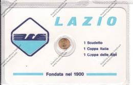 SCHEDA CON PICCOLA MEDAGLIA IN BAGNO D'ORO DELLA LAZIO - - Apparel, Souvenirs & Other