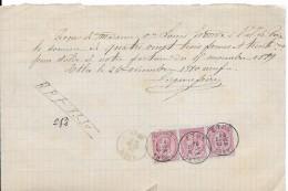Reçu   83,30 Fr    1889   3 X N°46    (3 X 10 Cts )   ETHE - 1869-1883 Léopold II