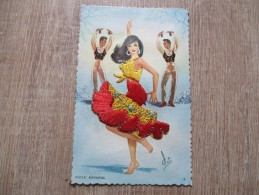 CPA  FANTAISIE BRODEE DANSEURS ESPAGNOLS ELOI - Embroidered