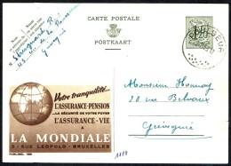 """CP Public. N° 1188  """" Assurances LA MONDIALE """" - Circulé / Circulated - 1953. - Entiers Postaux"""