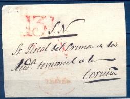 1843 , ORENSE , ENVUELTA CIRCULADA ENTRE TRIVES Y CORUÑA , MARCA PREF. Nº 1 , PORTEO Y LLEGADA AL DORSO - ...-1850 Prefilatelia