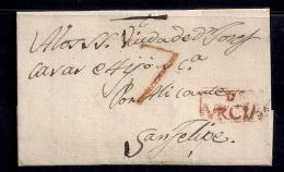 "1807 , ALBACETE , ENVUELTA PREFILATÉLICA CIRCULADA ENTRE HELLÍN Y SAN FELIPE , MARCA PREF. Nº 1 "" E / MURCIA "" - Spain"