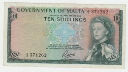 Malta 10 Shillings 1949 (1963) VF+ Pick 25 - Malte