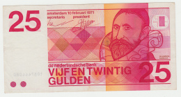 Netherlands 25 Gulden 1971 VF+ Banknote Pick 92a  92 A - 25 Gulden